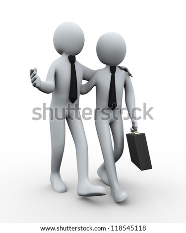 3d illustration of man with breifcase walking with his business partner. 3d rendering of human businesspeople characters.