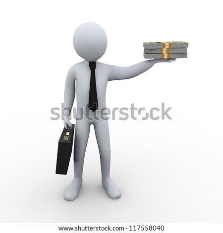 3d Illustration of man with briefcase holding dollar pack. 3d rendering of human character businessman.