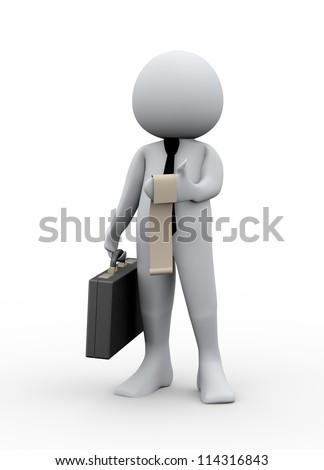 3d Illustration of man with briefcase looking at bill. 3d rendering of human character businessman.
