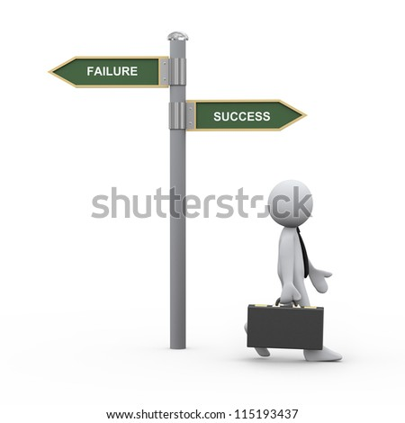 3d Illustration of man with briefcase walking toward success goal. 3d rendering of human character businessman.