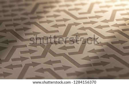 3D illustration of many arrow with different directions on kraft paper. Psychology concept of disorganization or irrationality