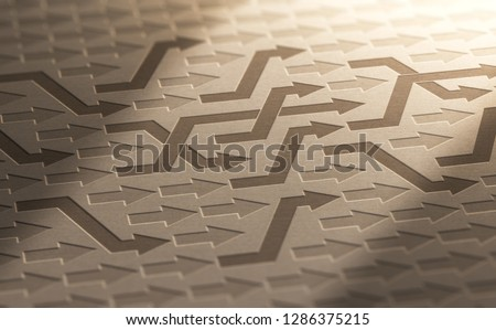 3D illustration of many arrows changing way on kraft paper. Structural Reorganization Background. Foto d'archivio ©