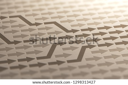 3D illustration of many arrows changing way to converge toward objective on kraft paper. Confluence background.