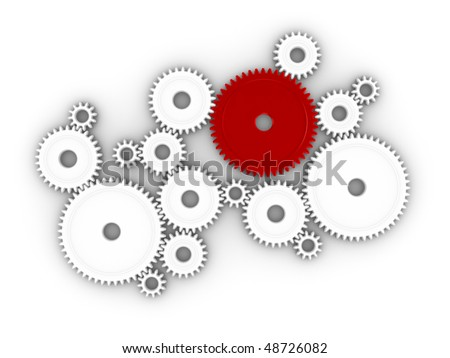 3d illustration of many cogs/gears working together