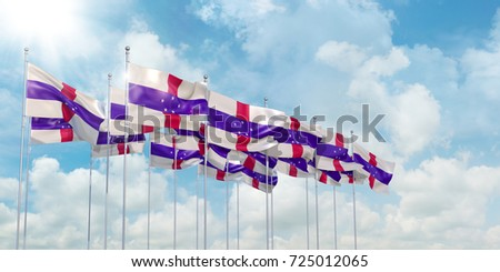 3D Illustration of many flags of Netherlands Antilles in rows waving in the wind against blue sky Сток-фото ©