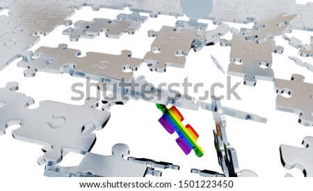 3D illustration of Many Grey Puzzle pieces in Chaos with One Rainbow piece on a white background