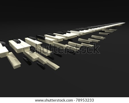 3d illustration of many long keyboard falling