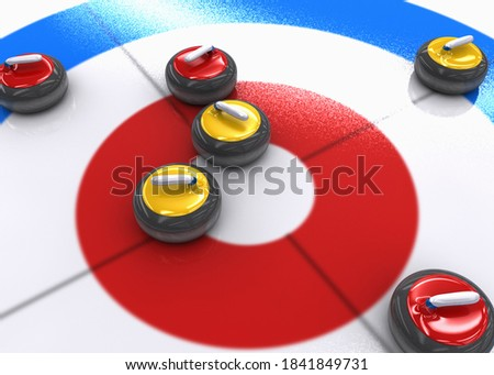 3D illustration of many red and yellow curling stones on ice. 3D illustration. ストックフォト ©