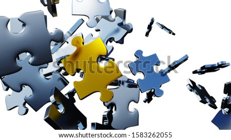 3D illustration of Many silver puzzle pieces in chaos with one large Golden piece in the middle with a white background