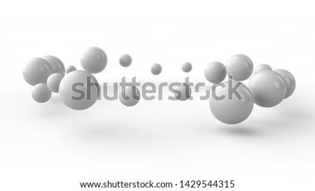 3D illustration of many small white balls, spheres arranged in a ring above the white surface receiving shadows. 3D rendering of abstract background, futuristic design, perfect geometric bodies. #1429544315