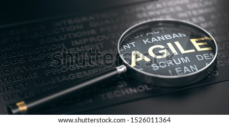 3D illustration of many words over black background and a magnifying glass with focus on the word agile. Foto d'archivio ©