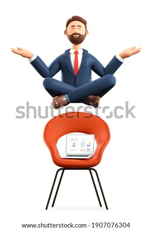 3D illustration of meditating man flying over chair and laptop. Cartoon smiling businessman with closed eyes in yoga lotus position tiring from office work, isolated on white background.