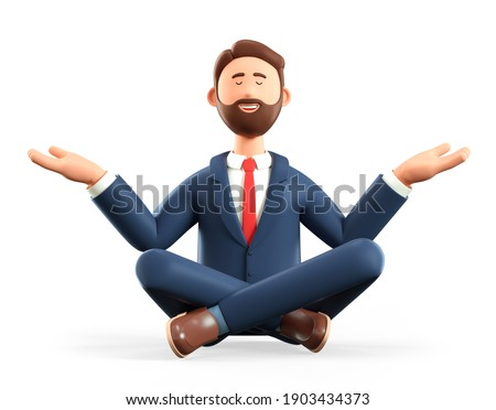 3D illustration of meditating man sitting on the floor. Cartoon smiling businessman with closed eyes in yoga lotus position, isolated on white background. Keep calm business concept.