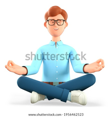 3D illustration of meditating man sitting on the floor in yoga lotus position. Cute cartoon relaxing smiling businessman with closed eyes and wise gesturing. Keep calm business concept.