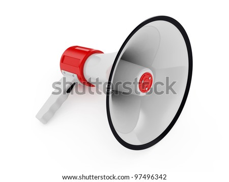 3d illustration of megaphone different views over white - stock photo