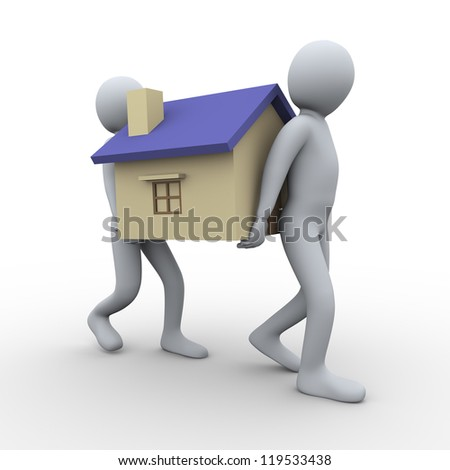 3d illustration of men carrying house. 3d rendering of human character.