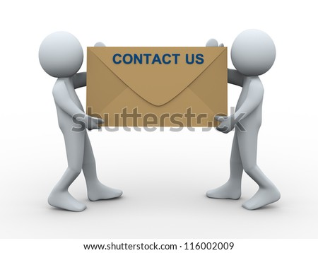 3d illustration of men holding contact us envelope. 3d rendering of human character.