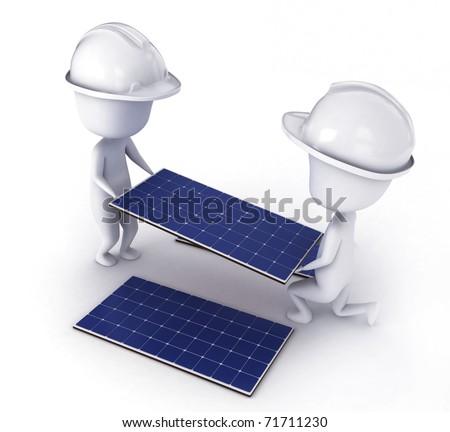 3D Illustration of Men Installing Solar Panels