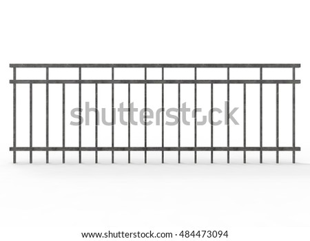 3d illustration of metal fence. ...
