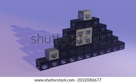 3D illustration of milk crate challenge