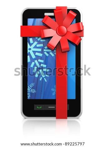 3d illustration of mobile phone, christmas gift