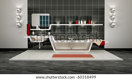 3D Illustration of modern bathroom interior.
