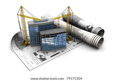 3d illustration of modern building construction concept - stock photo