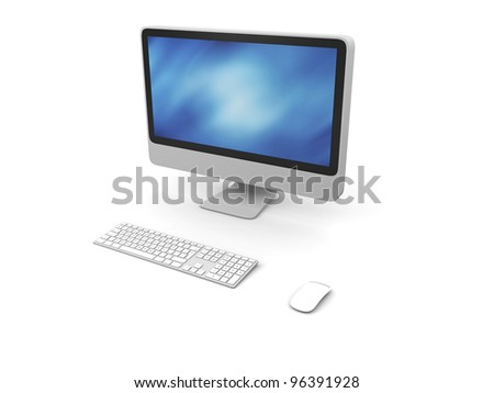 3D illustration of modern desktop computer with wireless keyboard and mouse