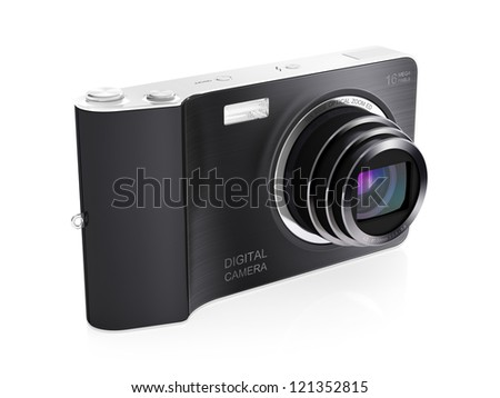3D illustration of modern digital camera isolated on white backhround