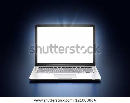 3D illustration of modern laptop with glowing screen on dark blue background