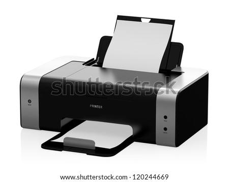 3D illustration of modern laser printer isolated on white background