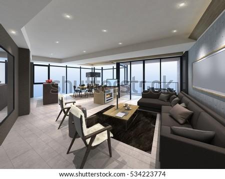 3D illustration of modern living room indoor  #534223774