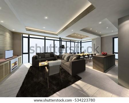 3D illustration of modern living room indoor  #534223780