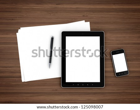 3d illustration of modern mobile devices, sheet of paper and pen on wooden table