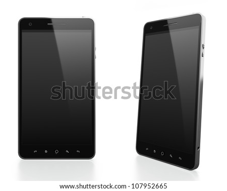 3D illustration of modern mobile phone with black blank screen in different angles on white background