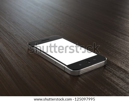 3D illustration of modern mobile phone with blank screen on wooden table.