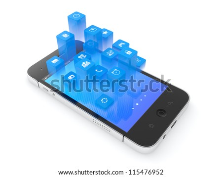 3D illustration of modern mobile phone with flying icons on top of it