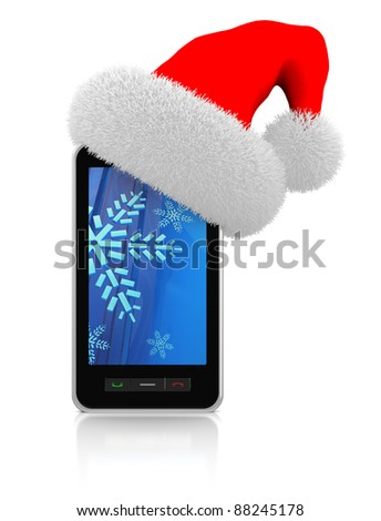 3d illustration of modern mobile phonewith christmas hat