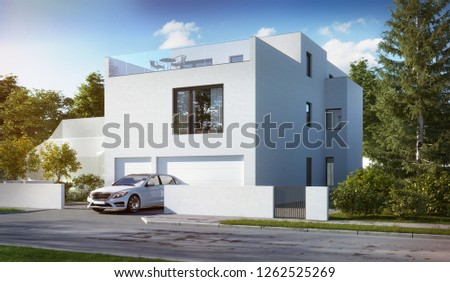 3D illustration of modern residential house for young families; townhouse 3d; 300 dpi
