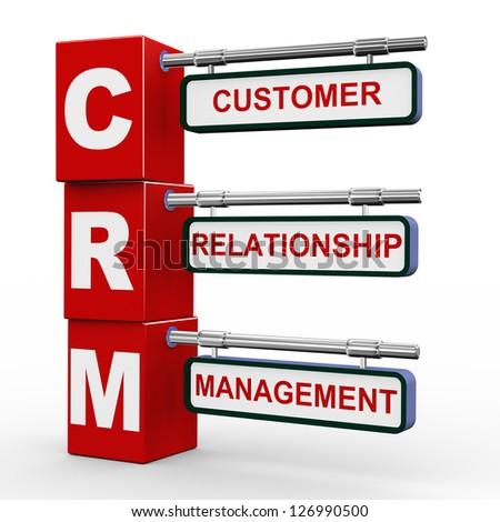 3d illustration of modern roadsign cubes signpost of crm - customer relationship Management