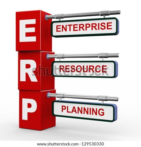 3d illustration of modern roadsign cubes signpost of erp - enterprise resource planning - stock photo