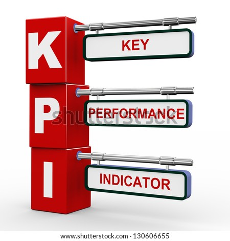 3d illustration of modern roadsign cubes signpost of kpi - key performance indicator