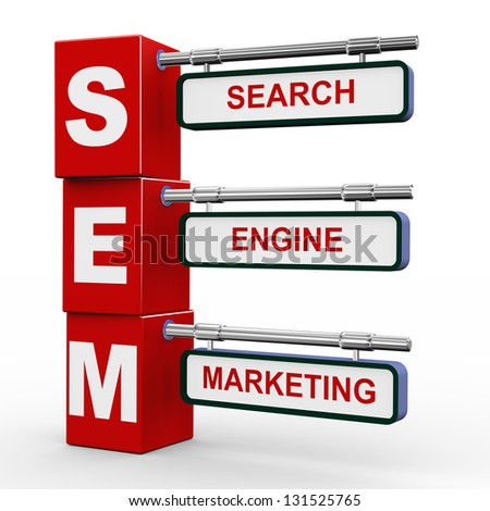 3d illustration of modern roadsign cubes signpost of sem - search engine marketing