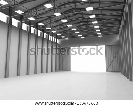3d Illustration of Modern Storehouse with opened door