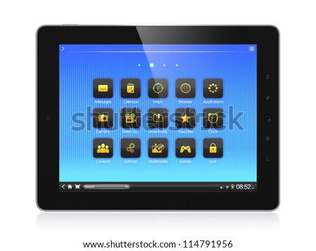 3D illustration of modern tablet computer isolated on white background