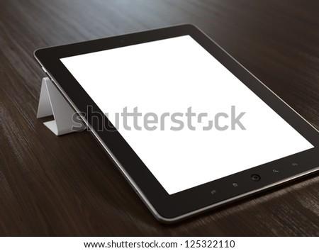 3D illustration of modern tablet computer on wooden desk.