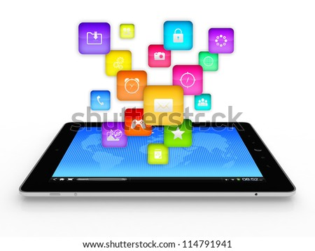 3D illustration of modern tablet computer with flying icons on top of it