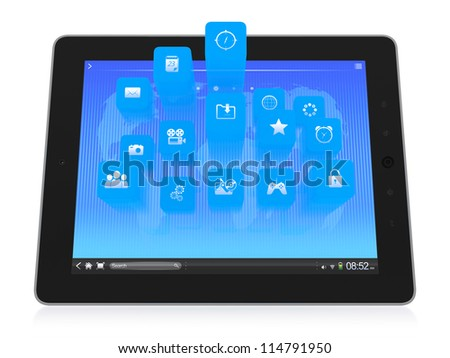 3D illustration of modern tablet computer with icons popping up from the screen