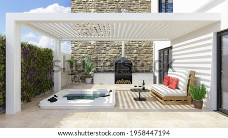 3D illustration of modern urban patio with white bioclimatic pergola and whirlpool. Barbecue and white pallet couch next to hot whirlpool bath. Stock photo ©