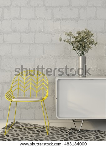 3d illustration of modern yellow chair of wires in white and gray interior